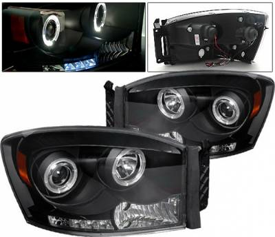 Headlights & Tail Lights - Headlights - 4 Car Option - Dodge Ram 4 Car Option Halo LED Projector Headlights - Black - 1PC - LP-DR06BC-YD