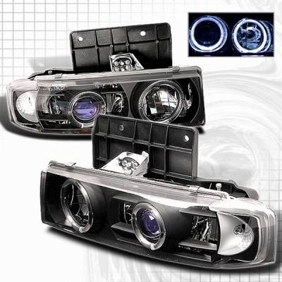 Headlights & Tail Lights - Headlights - Custom Disco - GMC Safari Custom Disco Black Halo Projector Headlights - LHP-AST95JMB-YD