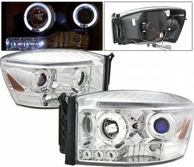 Headlights & Tail Lights - Headlights - 4 Car Option - Dodge Ram 4 Car Option Halo LED Projector Headlights - Chrome - 1PC - LP-DR06CB-5
