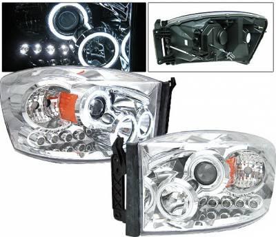 Headlights & Tail Lights - Headlights - 4 Car Option - Dodge Ram 4 Car Option LED Halo Projector Headlights - Chrome CCFL - 1PC - LP-DR06CC-KS