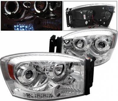 Headlights & Tail Lights - Headlights - 4 Car Option - Dodge Ram 4 Car Option Halo LED Projector Headlights - Chrome - 1PC - LP-DR06CC-YD