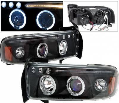 Headlights & Tail Lights - Headlights - 4 Car Option - Dodge Ram 4 Car Option Halo Projector Headlights - Black - 1PC - LP-DR94BC-5