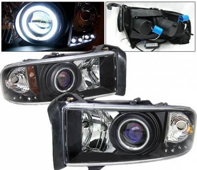 Headlights & Tail Lights - Headlights - 4 Car Option - Dodge Ram 4 Car Option Halo Projector Headlights - Black CCFL - LP-DR94BC-KS-CCFL