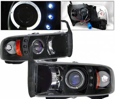 Headlights & Tail Lights - Headlights - 4 Car Option - Dodge Ram 4 Car Option Halo Projector Headlights - Black - 1PC - LP-DR94BC-YD