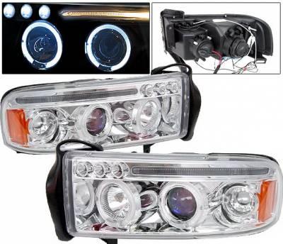 Headlights & Tail Lights - Headlights - 4 Car Option - Dodge Ram 4 Car Option Halo Projector Headlights - Chrome - 1PC - LP-DR94CC-5
