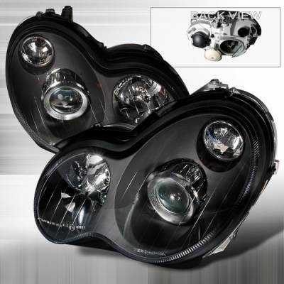 Headlights & Tail Lights - Headlights - Custom Disco - Mercedes-Benz C Class Custom Disco Black Projector Headlights - LHP-BW20301JM-KS