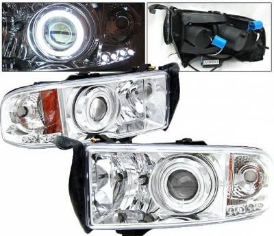 Headlights & Tail Lights - Headlights - 4 Car Option - Dodge Ram 4 Car Option Halo Projector Headlights - Chrome CCFL - LP-DR94CC-KS-CCFL