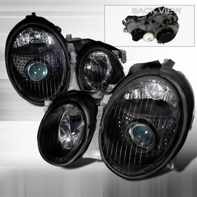 Headlights & Tail Lights - Headlights - Custom Disco - Mercedes-Benz CLK Custom Disco Black Projector Headlights - LHP-BW20899JM-DP