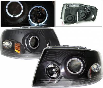 Headlights & Tail Lights - Headlights - 4 Car Option - Ford Expedition 4 Car Option Dual Halo Projector Headlights - Black - LP-FE03BC-KS