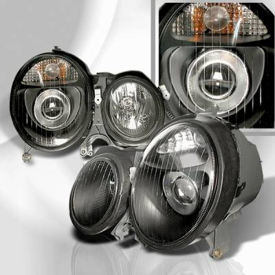Headlights & Tail Lights - Headlights - Custom Disco - Mercedes-Benz E Class Custom Disco Black Projector Headlights - LHP-BW21000JM-KS