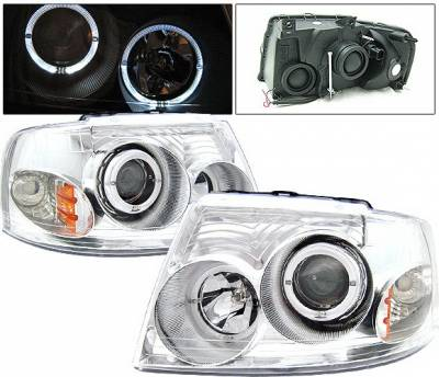 Headlights & Tail Lights - Headlights - 4 Car Option - Ford Expedition 4 Car Option Dual Halo Projector Headlights - Chrome - LP-FE03CC-KS
