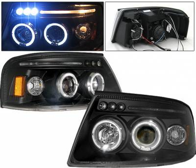 Headlights & Tail Lights - Headlights - 4 Car Option - Ford Expedition 4 Car Option LED Halo Projector Headlights - Black - LP-FE04BC-5