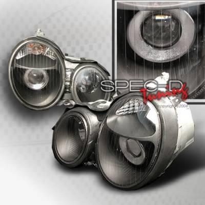 Headlights & Tail Lights - Headlights - Custom Disco - Mercedes-Benz E Class Custom Disco Black Projector Headlights - LHP-BW21096JM-KS
