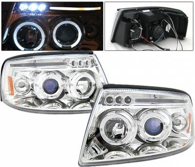 Headlights & Tail Lights - Headlights - 4 Car Option - Ford Expedition 4 Car Option LED Halo Projector Headlights - Chrome - LP-FE04CC-5