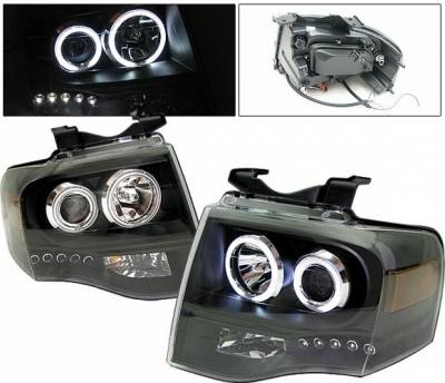 Headlights & Tail Lights - Headlights - 4 Car Option - Ford Expedition 4 Car Option Halo Projector Headlights - Black CCFL - LP-FE07BF-KS