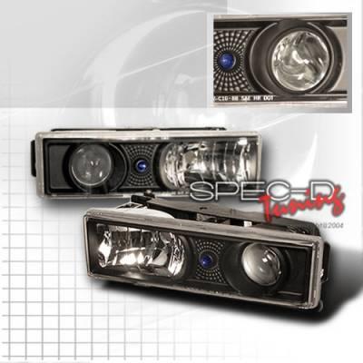 Headlights & Tail Lights - Headlights - Custom Disco - Chevrolet C10 Custom Disco Black Projector Headlights - LHP-C1088JM