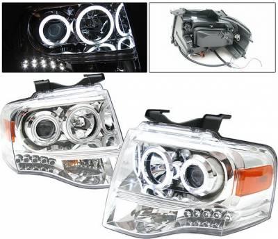Headlights & Tail Lights - Headlights - 4 Car Option - Ford Expedition 4 Car Option Halo Projector Headlights - Chrome CCFL - LP-FE07CF-KS