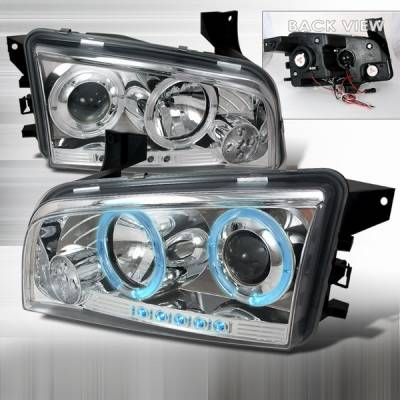 Headlights & Tail Lights - Headlights - Custom Disco - Dodge Charger Custom Disco Chrome Harger Halo LED Projector Headlights - LHP-CHG05-YD