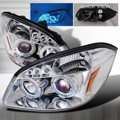 Headlights & Tail Lights - Headlights - Custom Disco - Chevrolet Cobalt Custom Disco Chrome Halo LED Projector Headlights - LHP-COB05-TM