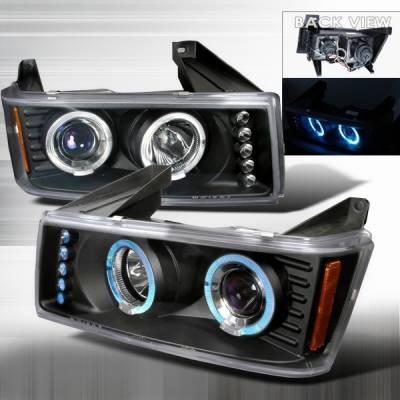 Headlights & Tail Lights - Headlights - Custom Disco - GMC Canyon Custom Disco Black Halo Projector Headlights - LHP-COL04HJM-TM