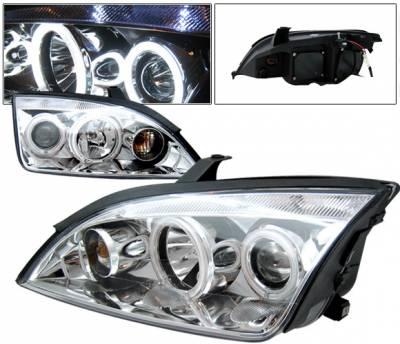 Headlights & Tail Lights - Headlights - 4 Car Option - Ford Focus 4DR 4 Car Option Halo Projector Headlights - Chrome - LP-FF05CC-KS