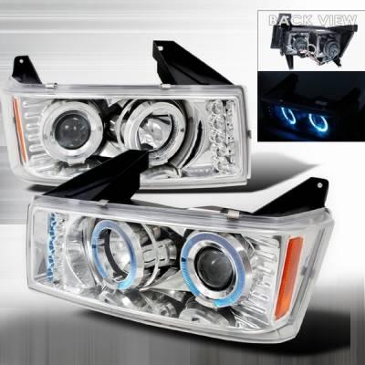 Headlights & Tail Lights - Headlights - Custom Disco - GMC Canyon Custom Disco Chrome Halo Projector Headlights - LHP-COL04H-TM