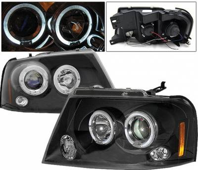 Headlights & Tail Lights - Headlights - 4 Car Option - Ford F150 4 Car Option LED Halo Projector Headlights - Black - LP-FF15004BB-5
