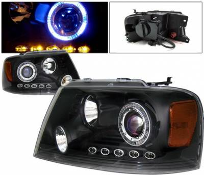 Headlights & Tail Lights - Headlights - 4 Car Option - Ford F150 4 Car Option LED Halo Projector Headlights - Black - 1PC - LP-FF15004BB-KS