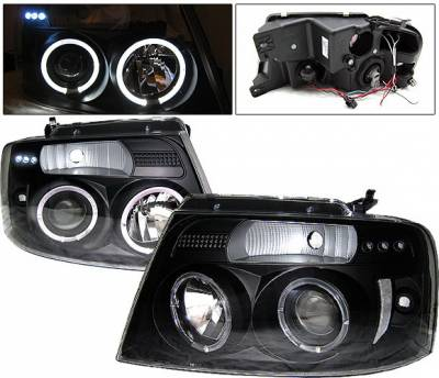 Headlights & Tail Lights - Headlights - 4 Car Option - Ford F150 4 Car Option LED Halo Projector Headlights - Black - 1PC - LP-FF15004BB-YD