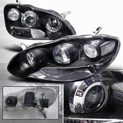 Headlights & Tail Lights - Headlights - Custom Disco - Toyota Corolla Custom Disco Black Projector Headlights - LHP-C-OR03JM-DP
