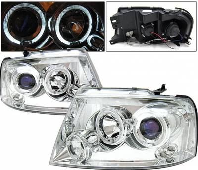 Headlights & Tail Lights - Headlights - 4 Car Option - Ford F150 4 Car Option LED Halo Projector Headlights - Chrome - LP-FF15004CB-5