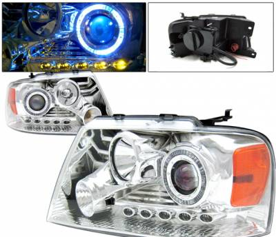 Headlights & Tail Lights - Headlights - 4 Car Option - Ford F150 4 Car Option LED Halo Projector Headlights - Chrome - 1PC - LP-FF15004CB-KS