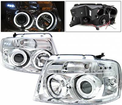 Headlights & Tail Lights - Headlights - 4 Car Option - Ford F150 4 Car Option LED Halo Projector Headlights - Chrome - 1PC - LP-FF15004CB-YD