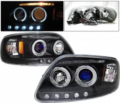 Headlights & Tail Lights - Headlights - 4 Car Option - Ford F150 4 Car Option LED Dual Halo Projector Headlights - Black - LP-FF150BB-5