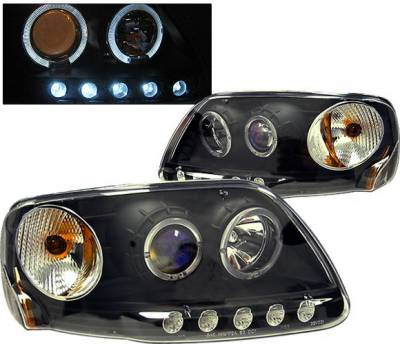 Headlights & Tail Lights - Headlights - 4 Car Option - Ford F150 4 Car Option Dual Halo Projector Headlights - Black - 1PC - LP-FF150BB-KS