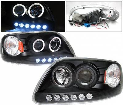 Headlights & Tail Lights - Headlights - 4 Car Option - Ford F150 4 Car Option Projector Headlights with Dual Halo - Black - LP-FF150BB-YD