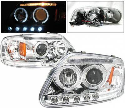 Headlights & Tail Lights - Headlights - 4 Car Option - Ford F150 4 Car Option LED Dual Halo Projector Headlights - Chrome - LP-FF150CB-5