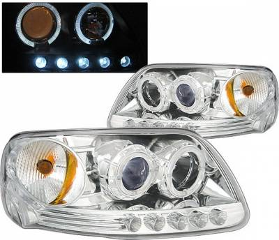 Headlights & Tail Lights - Headlights - 4 Car Option - Ford F150 4 Car Option Dual Halo Projector Headlights - Chrome - 1PC - LP-FF150CB-KS