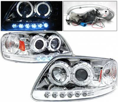 Headlights & Tail Lights - Headlights - 4 Car Option - Ford F150 4 Car Option Projector Headlights - Chrome - LP-FF150CB-YD