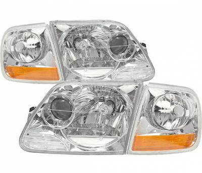 Headlights & Tail Lights - Headlights - 4 Car Option - Ford F150 4 Car Option Projector Headlights - Chrome with Amber Reflector - LP-FF150CC-DP