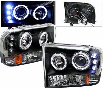 Headlights & Tail Lights - Headlights - 4 Car Option - Ford F350 4 Car Option Projector Headlights - Black - LP-FF250BC-5