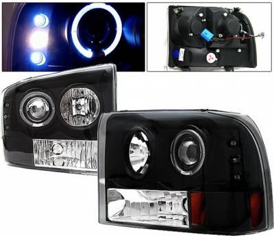 Headlights & Tail Lights - Headlights - 4 Car Option - Ford F350 4 Car Option Excursion Projector Headlights - Black - LP-FF250BC-YD
