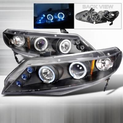 Headlights & Tail Lights - Headlights - Custom Disco - Honda Civic 4DR Custom Disco Black Halo Projector Headlights - LHP-CV064JM-TM