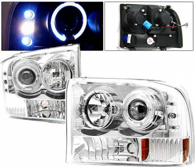 Headlights & Tail Lights - Headlights - 4 Car Option - Ford F250 4 Car Option Excursion Projector Headlights - Chrome - LP-FF250CC-YD