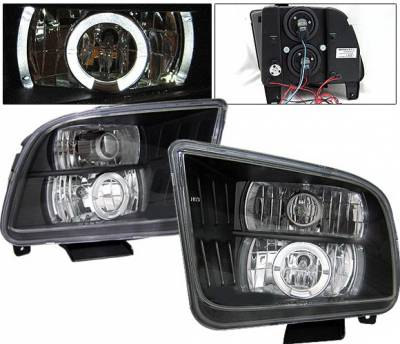 Headlights & Tail Lights - Headlights - 4 Car Option - Ford Mustang 4 Car Option LED Halo Projector Headlights - Black - LP-FM05BC-YD