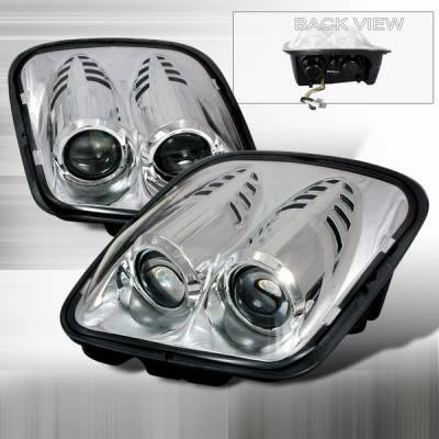 Headlights & Tail Lights - Headlights - Custom Disco - Chevrolet Corvette Custom Disco Chrome Projector Headlights - LHP-CVET97-DP