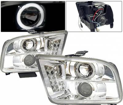 Headlights & Tail Lights - Headlights - 4 Car Option - Ford Mustang 4 Car Option LED Halo Projector Headlights - Chrome - LP-FM05CR-5
