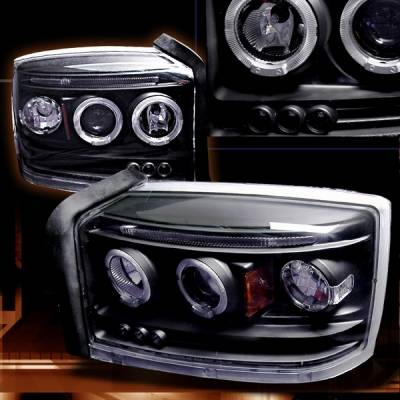 Headlights & Tail Lights - Headlights - Custom Disco - Dodge Dakota Custom Disco Black Projector Headlights - LHP-DAK05JMB-TM
