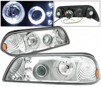 Headlights & Tail Lights - Headlights - 4 Car Option - Ford Mustang 4 Car Option LED Halo Projector Headlights - Chrome - LP-FM87CC-9-A
