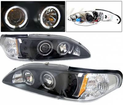 Headlights & Tail Lights - Headlights - 4 Car Option - Ford Mustang 4 Car Option Halo Projector Headlights Black - 1PC - LP-FM94BC-YD